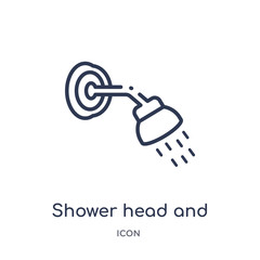 shower head and water icon from religion outline collection. Thin line shower head and water icon isolated on white background.