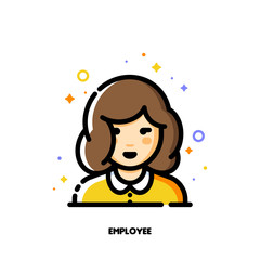 Female user avatar of employee. Icon of cute girl face. Flat filled outline style. Pixel perfect 64x64. Editable stroke