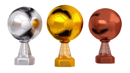 Front view of Football Gold Silver and Bronze Trophies
