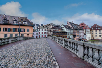 City facades bridge and river in Alsace  Strasbourg, France
