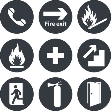 Phone, emergency,cross icons. Fire extinguisher and exit vector signs.