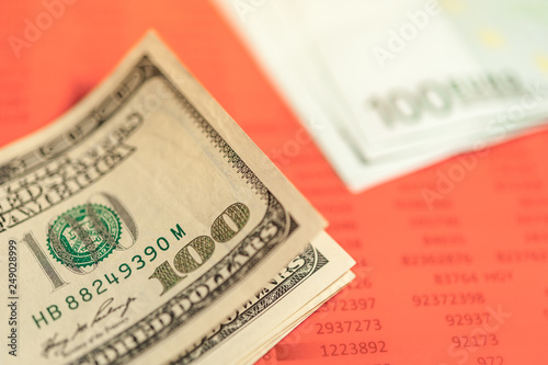 Close Up View Of Cash Money Euro And Dollars Bills Background Finance Business Theme
