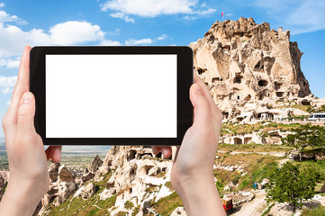 rock-cut Uchisar castle in Cappadocia in spring