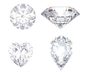 diamond and gemstone on clear background