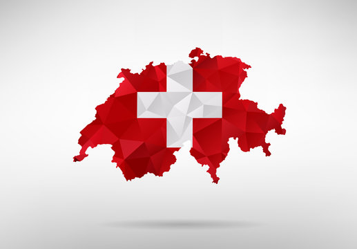 Switzerland map with national flag