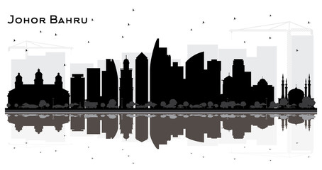 Johor Bahru Malaysia City Skyline Silhouette with Black Buildings and Reflections.
