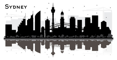 Sydney City Skyline Silhouette with Black Buildings and Reflections.