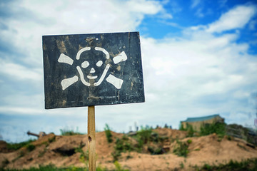 sign of danger announcing about mined fields in front