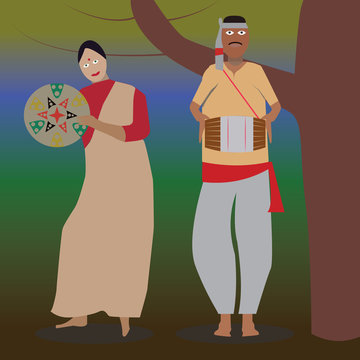 Bihu man plays the drum, and the woman Bihu dancing to his melody. A man and a woman perform the Bihu from Assam folk dance. Indian cultural festival holiday concept illustration vector. background.