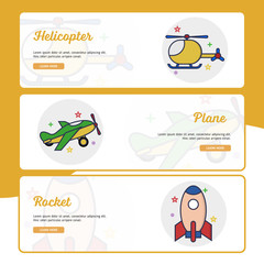 Children Toys Banner Collection with Outline Filled Style