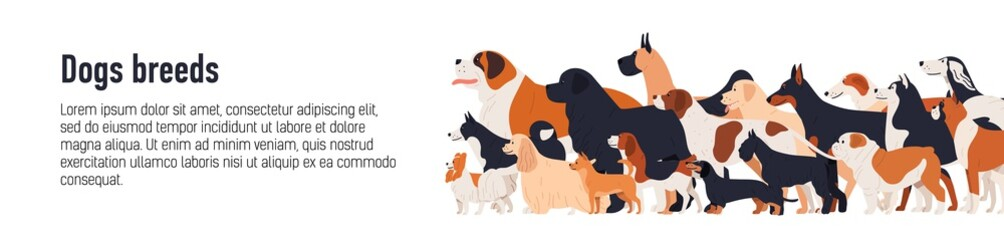 Horizontal web banner template for conformation dog show with adorable doggies of different breeds and place for text. Colorful vector illustration in flat cartoon style for event announcement.