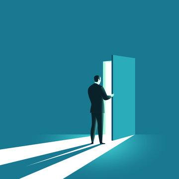 Businessman opens the door. Symbol of new career, opportunities, business ventures and challenges. Business concept. Vector illustration