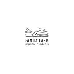 Vector hand drawn landscape, field and trees. Farm logo template.