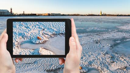 ice-bound Neva river in Saint Petersburg city