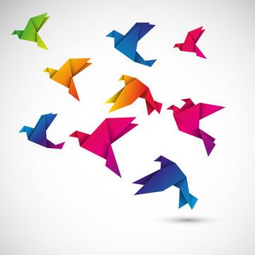 ptaki origami wektor