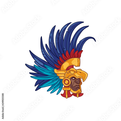 5d979788e Head of an aztec elite warrior wearing a helmet in form of an eagle, with  colorful feathers