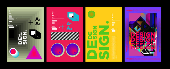Abstract Geometric Collage Poster Design Template in Trendy vivid colors