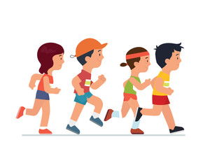 people running in a race run - Vector