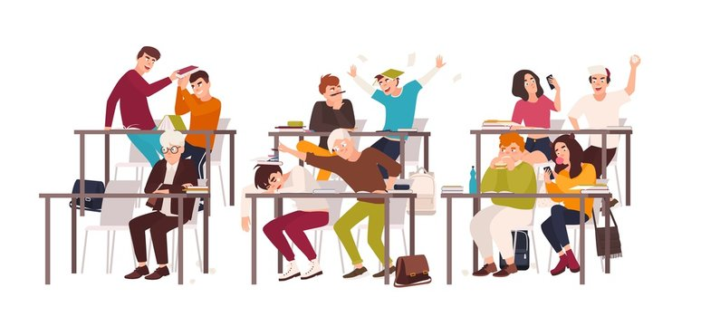 Group of students or pupils sitting at desks in classroom and demonstrating bad behavior - fighting, eating, sleeping, surfing internet on smartphone during lesson. Flat cartoon vector illustration.