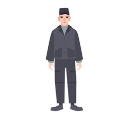 Male criminal in prisoner's uniform isolated on white background. Detainee or arrested person in jail, prison, detention center. Imprisonment or confinement. Vector illustration in flat cartoon style.