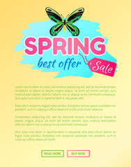 Spring best offer sale sticker with large green dragonfly butterfly vector advertisement banner springtime beauty, online web poster push button