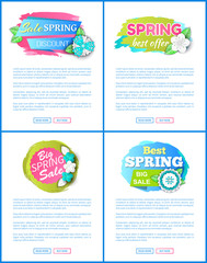 Spring sale price tags on web posters with text sample. Springtime flower blossoms and blooming plants, vector discount labels. Price off stickers on websites