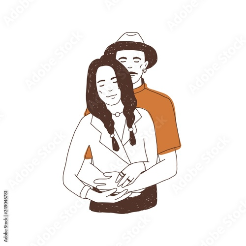 Drawing Of Cute Couple In Love Portrait Of Man Embracing And Woman