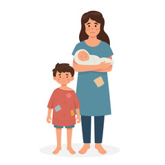mother, a boy and a baby in poor condition, sad mother and kids, hungry and dirty, homeless family concept, refugee family concept - Vector
