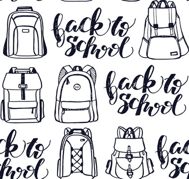 Hand drawn doodle backpack pattern background - back to school