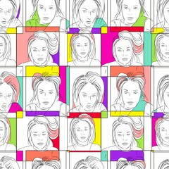 Abstract art vector seamless pattern. Hand drawn black and white selfie girl face and colorful frames. Template for design, textile, wallpaper, cover, card, carton, banner, print.