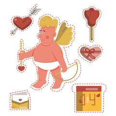 Funny cartoon Saint Valentine's day stickers