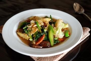 Stir fry vegetables on table