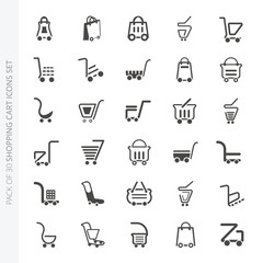 Shopping cart icons collection in trendy flat style isolated on white background. Set of 30 shopping cart vector icons for web site, graphic design and mobile apps.