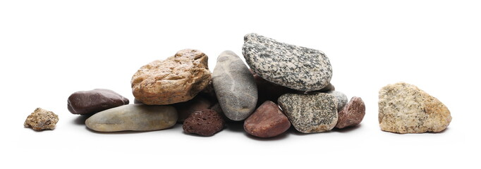 Decorative rocks isolated on white background Wall mural