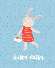 Easter greeting card template with cute bunny or rabbit walking and carrying basket full of decorated eggs and holiday lettering handwritten with cursive font. Flat cartoon vector illustration.