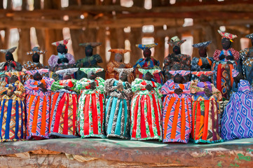Poster Afrique Herero dolls souvenir for sale on a stall in Windhoek Namibia south west Africa.
