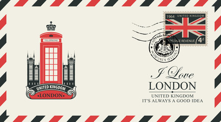 Vector postcard or envelope with the famous London telephone booth and inscriptions. Retro postcard with postmark in form of royal coat of arms and postage stamp with flag of United Kingdom