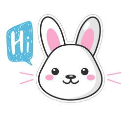 Cute kawaii Easter bunny cartoon character. Beautiful Kawaii vector illustration for greeting card/poster/sticker.