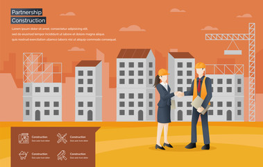 Partnership Construction vector web banner. Developer and buyer shaking hands on a deal of construction. Modern flat style vector illustration - Vector