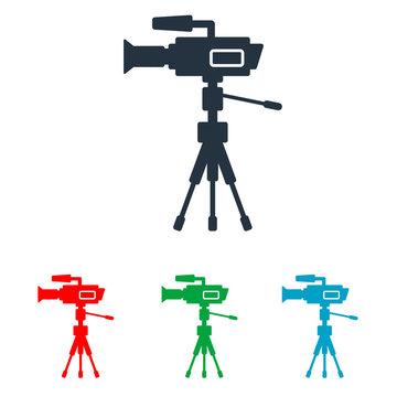 Icono plano silueta de cámara de televisión en varios colores