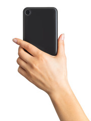 Women's hand showing black smartphone, concept of taking photo or selfie