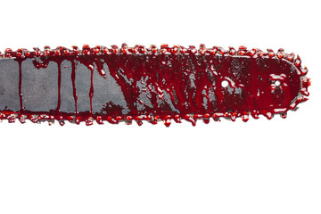 detail of chainsaw with blood