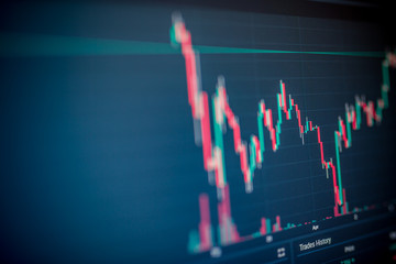 Stock market or forex trading graph and candlestick chart suitable for financial investment concept. Economy trends background for business idea and all art work design. Abstract finance background