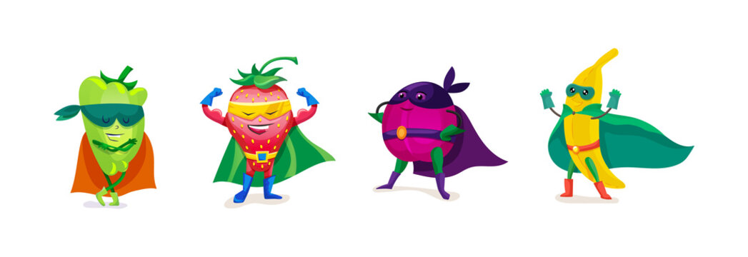 Funny cartoon fruits and vegetables in superhero costumes, vegetarian food.
