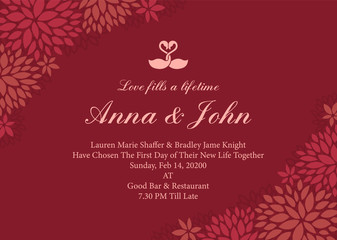Wedding card - swan couple sign and Abstract flower frame on red rose color background vector template design