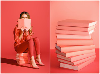 collage with living coral books and elegant girl reading book. color of the year 2019 concept
