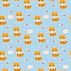 Funny Cat and mouse. Vector seamless pattern for fabric, wallpaper, wrapping paper, for kids.