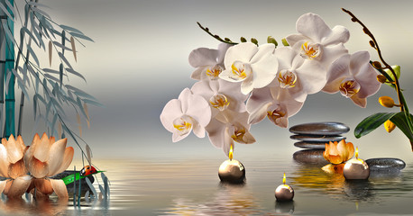 Tuinposter Orchidee Wandbild mit Steinen und Bambus im Wasser und schwimmenden Kerzen