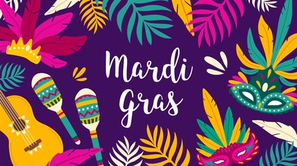 Mardi Gras banner template decorated by tropical leaves, guitar, maracas and masks. Flat vector illustration for holiday celebration, masquerade or carnival party invitation, festival announcement.
