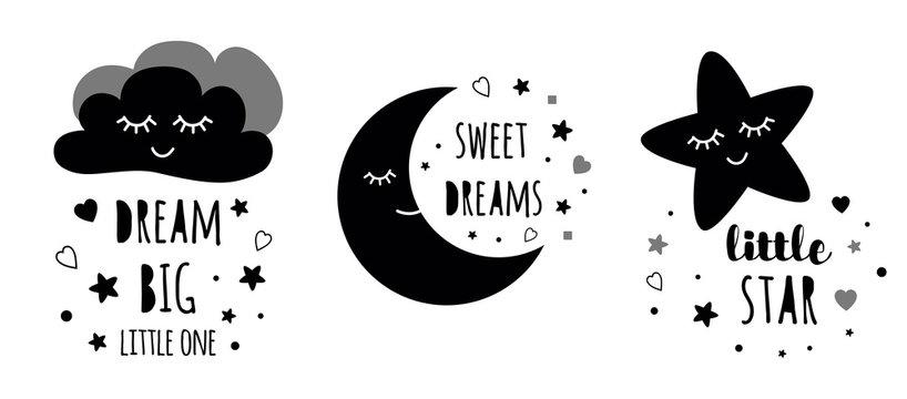 Cute kids posters set. Childish typography print room decoration Dream big black colors Vector Illustration
